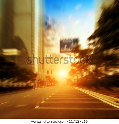 The streets of the city at dusk - stock photo