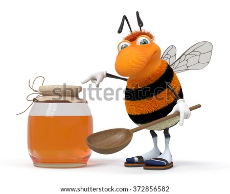 The striped insect tries to fly up to depart behind honey/3d bumblebee with a honey can