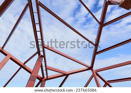 the structural steel structure of a new home - stock photo