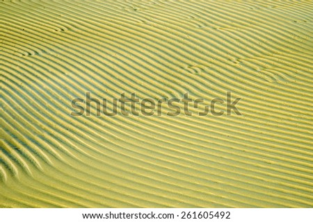 The structure of the sand on the beach after the tide. - stock photo