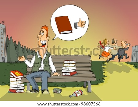 The student thought the good thing is the book - stock photo