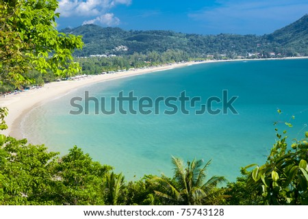 The stunning bay of Kamala Beach in Phuket Thailand - stock photo