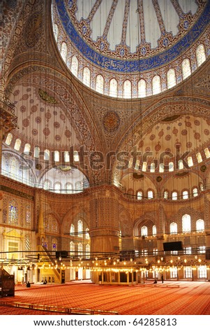 The stunning interior of the Blue Mosque in Istanbul, Turkey