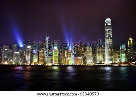 The stunning skyline of Hong Kong at nighttime. - stock photo