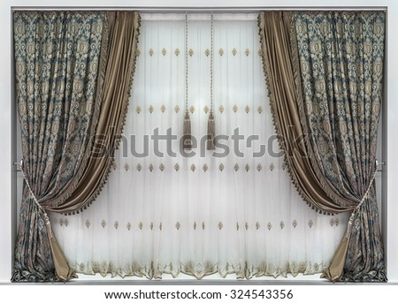 The stylish interior design with luxurious curtains and tulle - stock photo