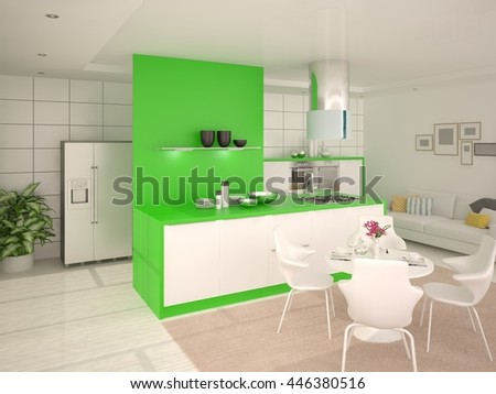 The stylish kitchen design in the comfort of home, 3d rendering. - stock photo