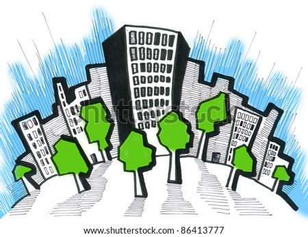The stylized city. A glade with trees - stock photo