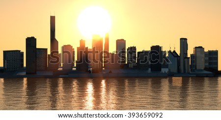 the stylized city of metropolis at sunsetd sea 3D render - stock photo