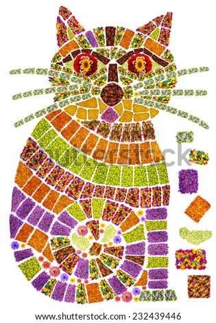 The stylized image of a cat and cat's food in mosaic style is made from summer flowers. Isolated handmade collage - stock photo