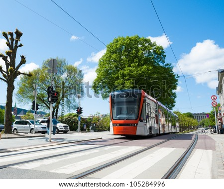 The subway in center of Bergen city in Norway - stock photo