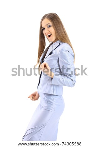The successful beautiful business woman on a white background - stock photo