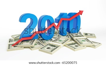 the successful growth of profits in the business in 2010 - stock photo