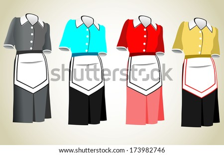 The suit of the housemaid consists of a dress and an apron. - stock photo