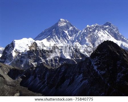 The summit of Mt Everest on a clear day - stock photo