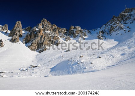The summit of Saulire in the valley of Meribel, french alps, France - stock photo