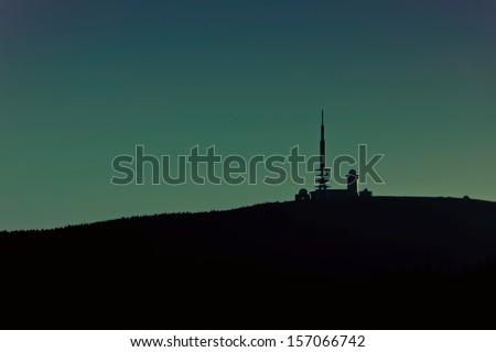 the summit of the Brocken at night - stock photo