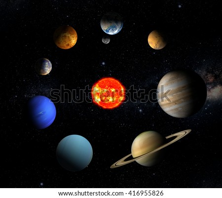 The sun and eight planets of our system orbiting. Elements of this image furnished by NASA) - stock photo