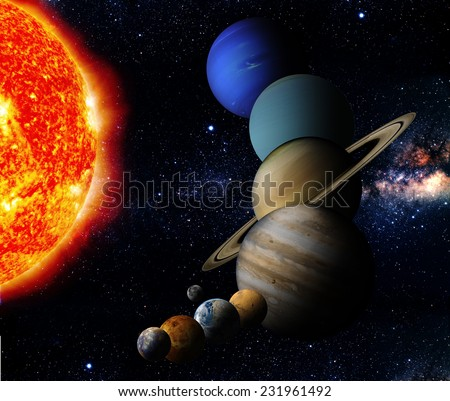 The sun and nine planets of our system orbiting Elements of this image furnished by NASA - stock photo