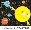 The sun and the earth holding each other by the hand, enjoying the ride through the solar system / with other planets looking on enviously - color raster cartoon illustration - stock photo