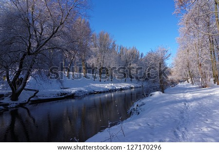 The sun came out on a cold day after a snowy night. Beauty. City Park. - stock photo