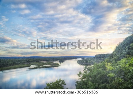 The sun goes down on a fall day in Wisconsin - stock photo