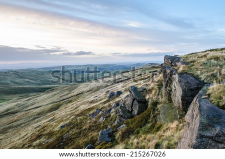 The sun goes down over Shining Tor in the Peak District