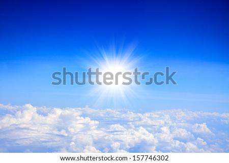 The Sun on blue sky.  - stock photo