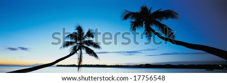 The sun sets behind two palm trees in a tropical paradise - stock photo