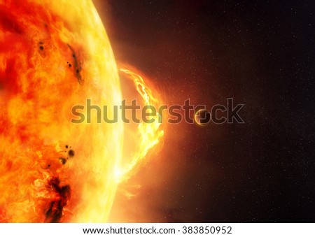 The Sun - Solar Flare. An illustration of the sun and sun flare with a planet to give scale to the size of the flare. - stock photo