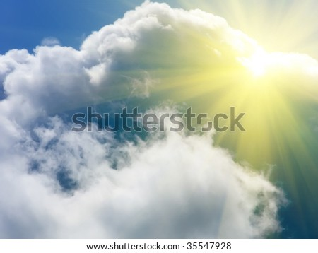 The sun the cloud sky