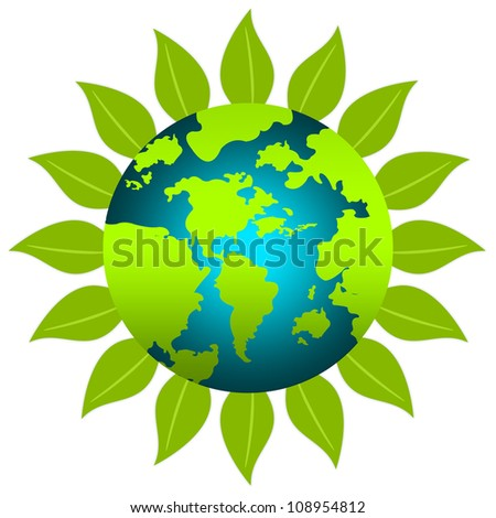 The Sunflower With World Map For Stop Global Warming or Save The Earth Concept  Isolated on White Background - stock photo