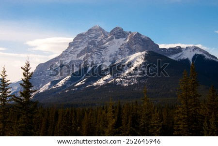 The sunny side of Mount Kidd in Kananaskis Country, Alberta, Canada.