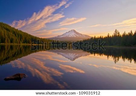 The Sunrise at Trillium Lake Oregon - stock photo
