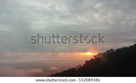 the sunrise at view point on the mountain