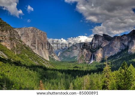 The sunset in Yosemite National Park, California - stock photo