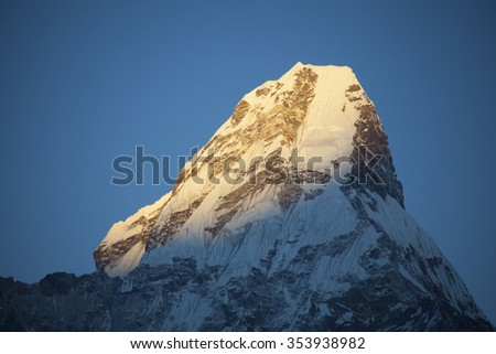 The sunset of mountain Ama Dablam in Nepal