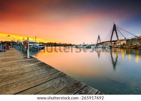 The sunset shot at a port, Sydney fish market, Australia. - stock photo