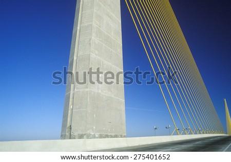 The Sunshine Skyway Bridge in Tampa Bay, Florida - stock photo