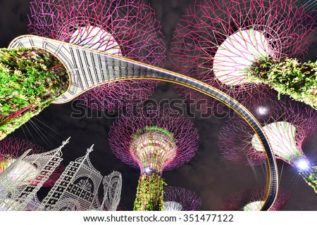 The Supertree at Gardens by the Bay,Singapore - stock photo