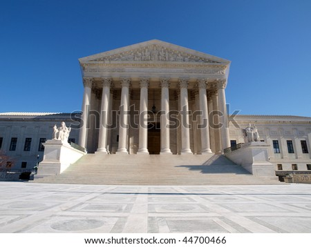 The Supreme Court building in Washington DC. - stock photo