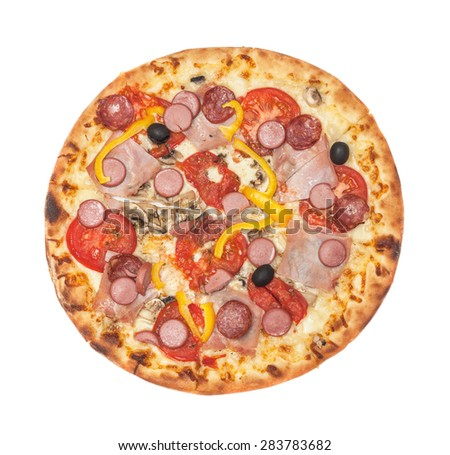 The supreme pizza with sausages isolated on white background - stock photo