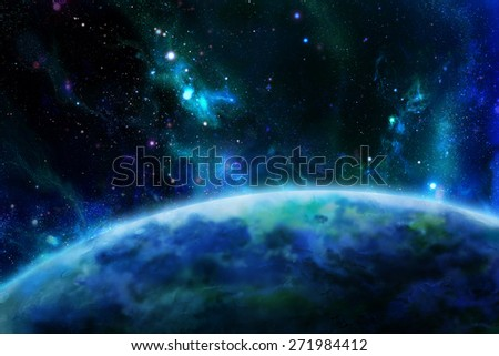 The surface of the planet from space. Digital drawing. - stock photo