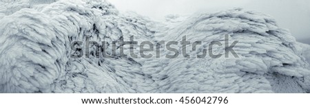 the surface of the snow and ice
