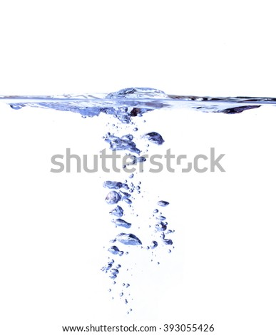 the surface of water with underwater bubbles that move towards to the top of surface. The background is white