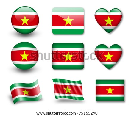 The Surinam flag - set of icons and flags. glossy and matte on a white background. - stock photo