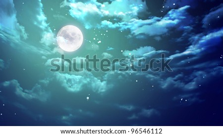the surrealism of moon night - stock photo