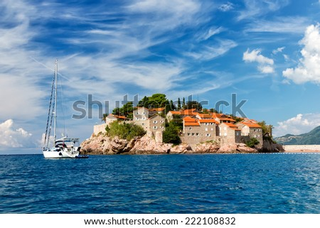 The Sveti Stefan, small islet and hotel resort in Montenegro - stock photo