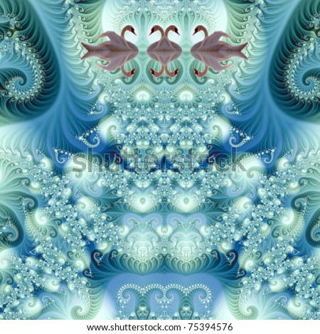 The swans in magic fractal - stock photo