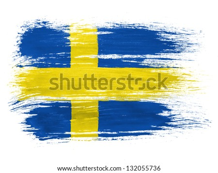The Swedish flag  on white background - stock photo