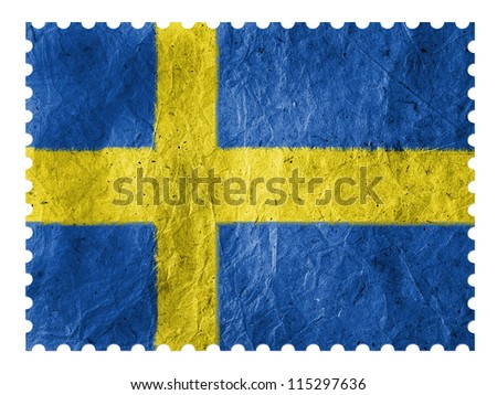 The Swedish flag painted on paper postage  stamp - stock photo